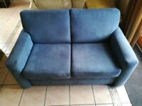 Blue suede effect double sofa bed