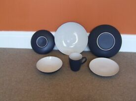 ETHOS STONEWARE. PLATES, BOWL AND MUG. EXCELLENT CONDITION. NEVER USED.
