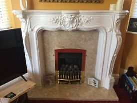 Louis French plaster fire surround, marble hearth and back panel Inc gas fire