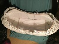 Moses basket, rocking stand, mattress & blanket