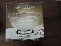 Glass Crystal Leaf Salad Bowl with Silver plated Base and salad Servers