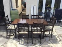 Dark oak priory dining room table and 6 chairs