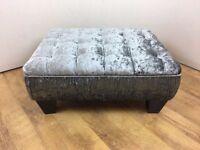 Small Steel Grey Crushed Velvet Quilt Top Footstool