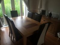 Oak Table and 6 dinning chairs cream and darkest brown