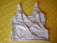 Jojo Maman Bebe white maternity/nursing nighttime/sleeping bras (medium)