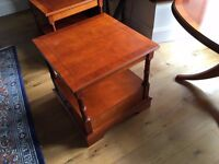 Yew Veneer Coffee Table and Two Side Tables