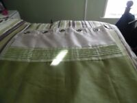 green cream curtains