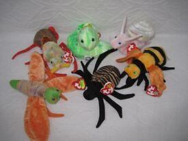 Original Ty Beanie Babies - Spider, Worm, Firefly, Bee, Snail & Beetle