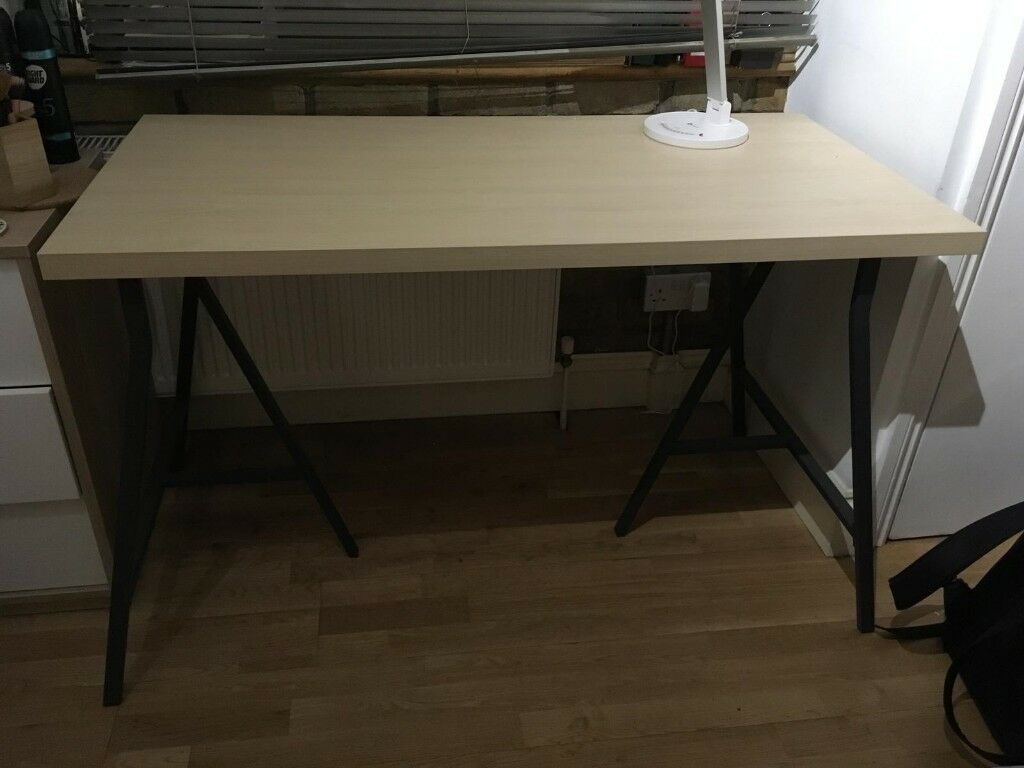 Lerberg linnmon ikea desk wooden pane with two metal trestles