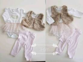 Baby girl 0-6 months clothes bundle. H&M, TKMaxx, f&f