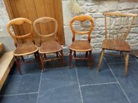 Dining chairs , farm house vintage set of 4 mixed