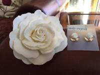 Flower hair clip and matching earrings - wedding?