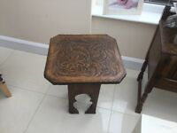 Engraved teak small table