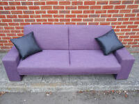 Can deliver. Purple 3 seater sofa bed with 2 black cushions