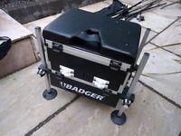 Fantastic Large BADGER Fishing Tackle Box / Seat Adjustable Legs