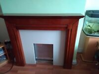 Wood fire surround with marble back, art deco style