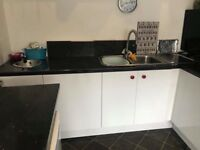IKEA KITCHEN WHITE HIGH GLOSS BLACK WORK TOPS GOOD CONDITION