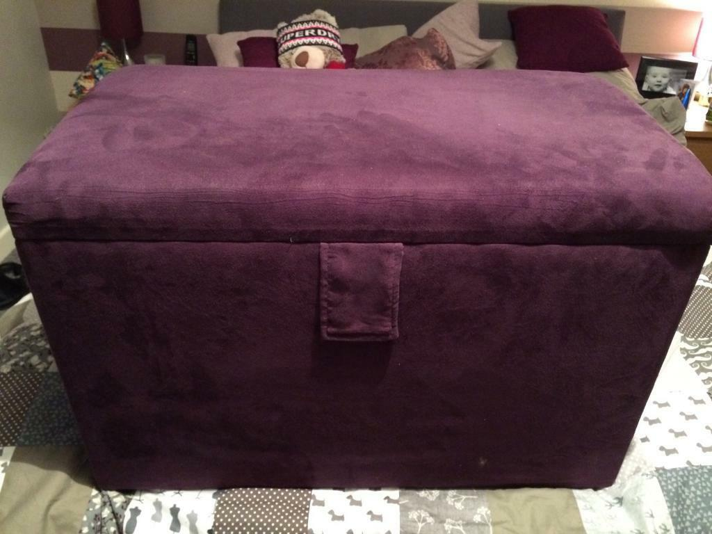 Faux Suede Plum Monaco Storage Ottoman by Dunelm - Faux Suede Plum Monaco Storage Ottoman By Dunelm In East End