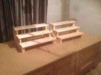 Wooden Display stands for sale, 3 step design