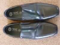 Boys Next Black Leather Shoes Size 6