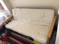Folding sofa double bed, cream mattress, beach frame