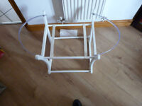FABULOUS WOODEN ROCKING MOSES BASKET STAND in white - IMMACULATE with free Moses Basket NOW REDUCED!