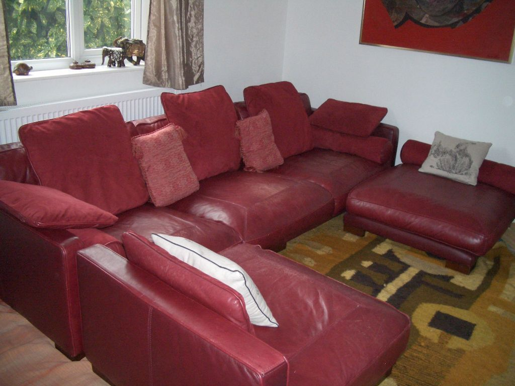 DFS California Red Leather L Shaped Corner Sofa With