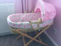 Pink bunny Moses basket and stand