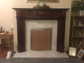Mahogany Effect Fireplace with Marble Harth and Back Surround