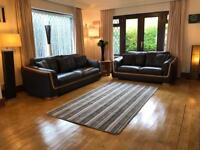 Dfs Brown Leather 3 & 2 Seater Sofa Set