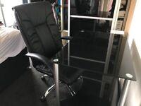 Black Executive Office Swivel Chair & Black Glass Office Desk