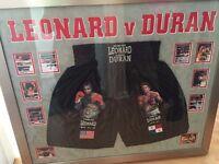Roberto Duran and Sugar Ray Leonard Signed Shorts Framed