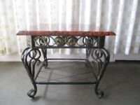 HEAVY WROUGHT IRON COFFEE TABLE WITH MARBLE EFFECT TOP