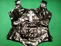 MISFITZ GOTH PVC SKIRT AND TOP SET SZ 12/14 WITH MATCHING THONG