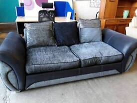 Modern Midnight Blue and Misty Grey Fabric 2 Seater. Chrome Feet.