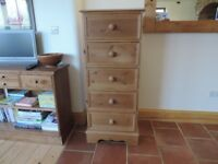 Tall rustic pine chest of drawers