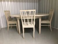 G-Plan 'Caneel Bay' Limed Oak Extending Dining Table & 4 Chairs