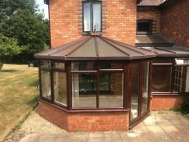 Large UPVC P shaped conservatory. 4 x 4 approx