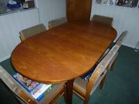 Teak Dining Table with Six Chairs and Sideboard