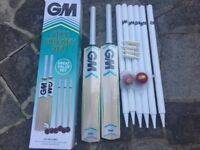 MSix6 cricket sets ( 2 X cricket bats, 2 X stumps, 2 balls ) BRAND NEW