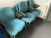 Green stacking chairs good condition