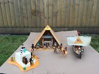 Playmobil Egyptians, Pyramid, Boat and Sand House with Treasure. Includes 3 Sets.
