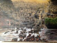 Hand painted original art of Wildebeest migrating on a 30 x 20 inch canvas