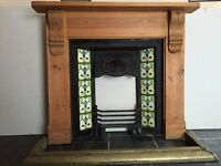 Edwardian fireplace, surround and brass fender