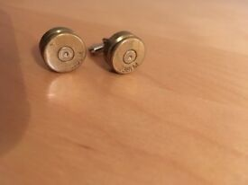 Real .338 bullet round cufflinks