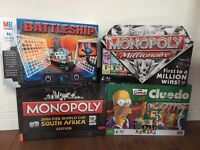 Family Board Games, Simpsons Cluedo, World Cup Monopoly, Battleships & Millionaire Monopoly