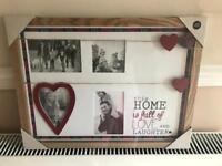 Wooden multi picture frame red tartan design