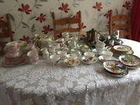Assorted vintage china tea & coffee sets including Royal Albert & Gladstone china
