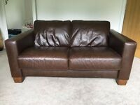 Italian designer SOFITALIA 2 seater sofa in brown leather