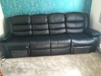 Black leather recliner corner sofa